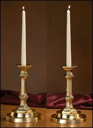 Set of 2 Budded Candlesticks with Filigree Design