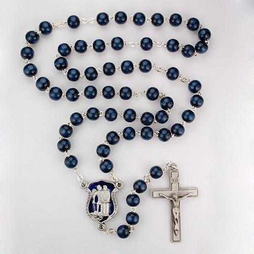 8mm Blue Wood Police Rosary (Style: R640DF)
