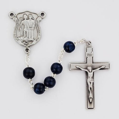 8mm Blue Wood Police Rosary (Style: R685DF)