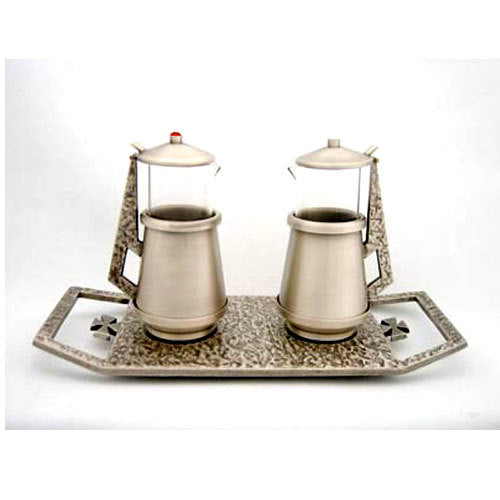 Antique Silver Cruet Set with Cast Bronze Tray (Style K652)