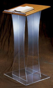 "Acrylic Lectern with Wood Top - 48"" Height (Style 3304W)"