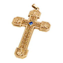 "Gold Plated Pectoral Cross with 36"" Rhodium-Plated Chain, Blue Stone (Style K898-G)"