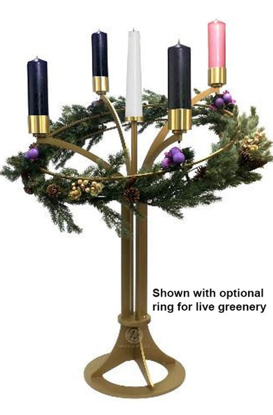 Standing Advent Wreath with Artificial Greenery (Style 3925)