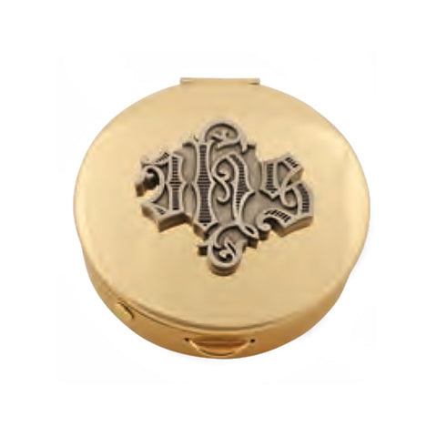 Pyx: Brass with Pewter 'IHS' (Style K121)