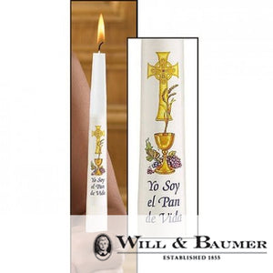 Communion Candle: Chalice and Grapes, Spanish