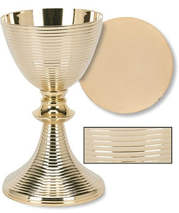 Gold Plated Ring Chalice with Paten (Series TS683)