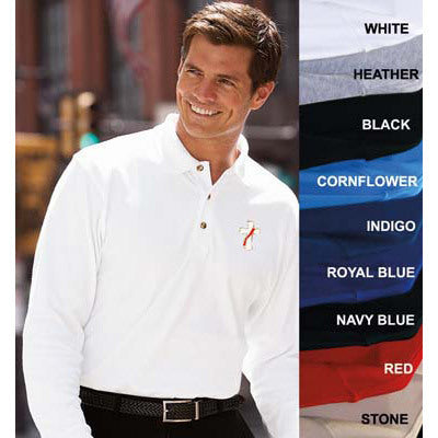 Beau Veste Men's Egyptian Interlock Long Sleeve Polo - 2XL (Style 8501)