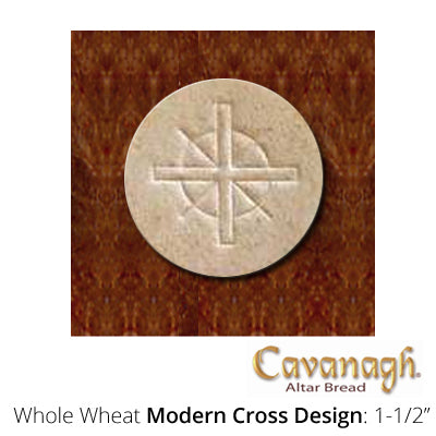 "Whole Wheat Altar Bread: 1-1/2"" Dia. (Modern Cross Design)"