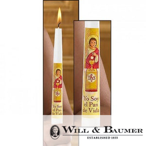 "Communion Candle: ""Yo Soy el Pan de Vida"" (Case of 24)"