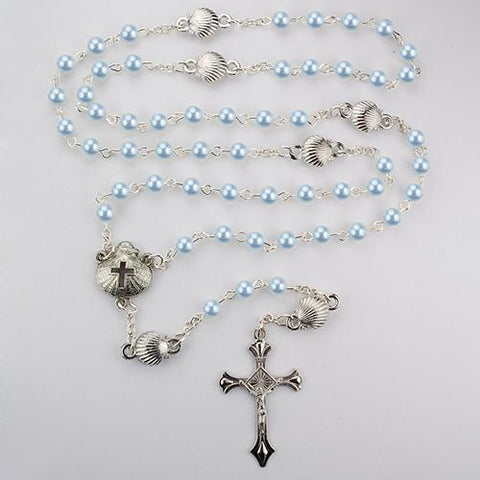 Blue Pearl Shell Baby Rosary Box (Style: R494G)