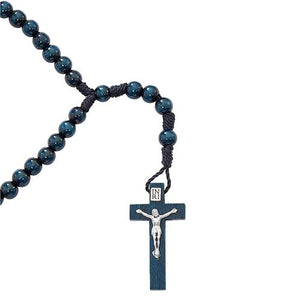 Blue Wood Corded Rosary (Style: P242R)