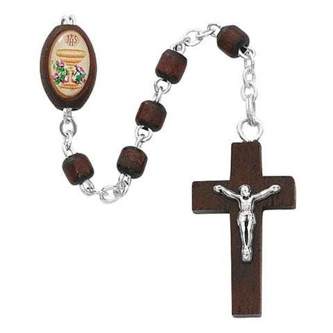 Brown Wood Communion Rosary (Style: P246R)