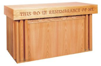 "Wooden Communion Table with Closed Back, 60"" x 24"" (Style 2161)"