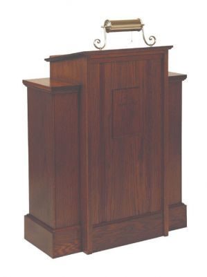 Wooden Pulpit with Cross and One Shelf (Style 165)