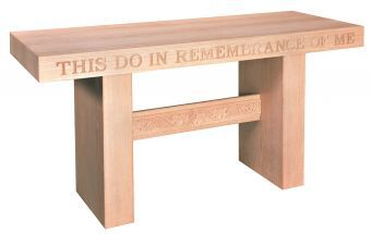 "Communion Table Finished with Plain Trim and Lettering, 60"" x 24"" (Style 1017L)"