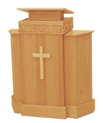 Wooden Pulpit with Cross and One Shelf (Style 367)