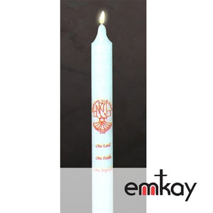 "Baptismal Candle: ""One Lord, One Faith, One Baptism"" (Case of 24)"