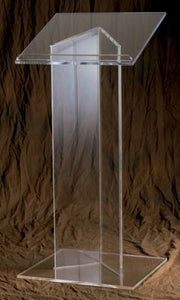 "Acrylic Lectern with Wood Top - 48"" Height (Style 3320W)"
