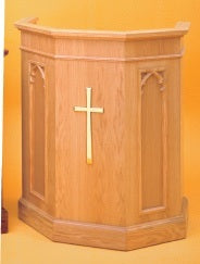Wooden Pulpit with Two Inside Shelves (Style 1250)