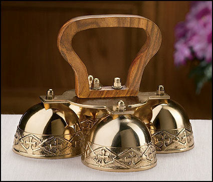 4-Bell Embossed Brass Altar Bells (Series GC809)
