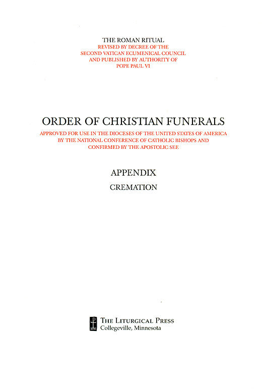 Order of Christian Funerals Appendix Cremation - LTP 2514