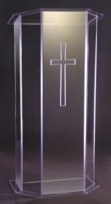 Acrylic Lectern with Wood Top and Shelf (Style 3325WS)