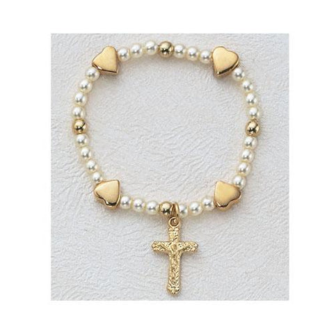 Gold Over Sterling Silver Baby Heart Stretch Bracelet (Style: SB766)