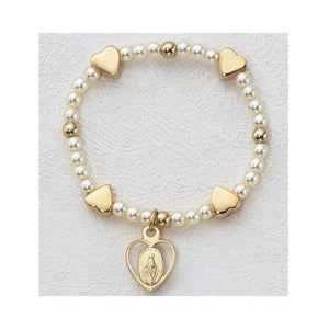 Gold Over Sterling Silver Baby Heart Stretch Bracelet (Style: SB7MH)