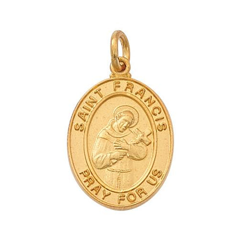 "Gold Over Sterling Silver St Francis 18"" Chain and Box (Style: J683FR)"