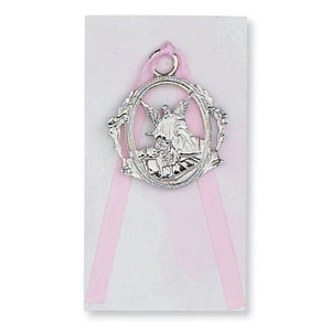 Guardian Angel Crib Medal Pink (Style: PW6-P)