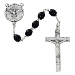 Oval Black Holy Spirit Rosary (Style: R264SF)