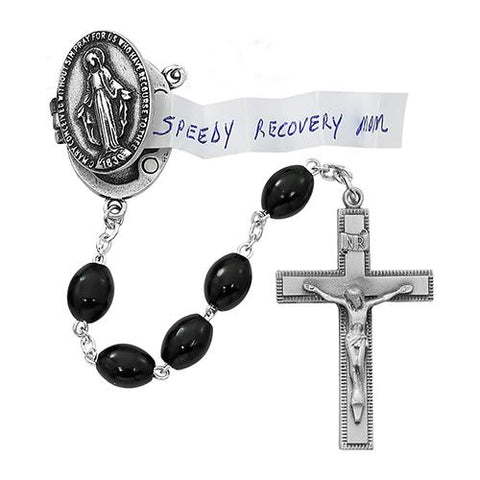 Pewter Black Pray Petition Rosary Box (Style: R591DF)