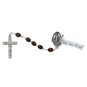 Pewter Brown Pray Petition Rosary Box (Style: R590DF)