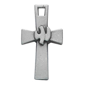 "Pewter Holy Spirit Cross With 18"" Chain and Carded (Style: D9153)"