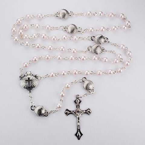 Pink Pearl Shell Baby Rosary Box (Style: R495G)