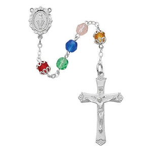 Rhodium Plated Multi Color Rosary, Bxed (Style: R613RF)