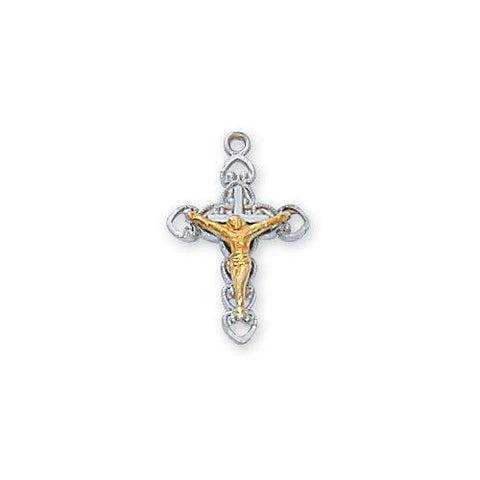 "Sterling Silver Crucifix 18"" Chain and Box (Style: L9155)"