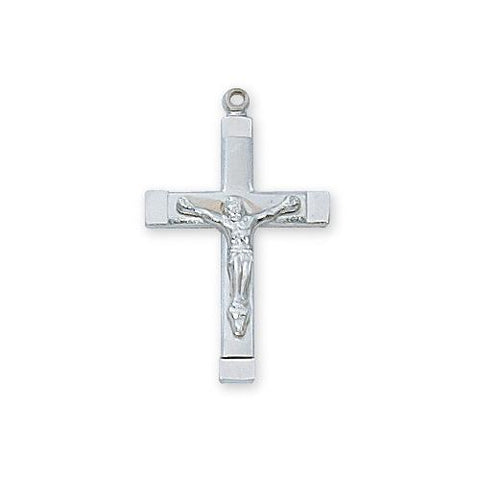 "Sterling Silver Crucifix 18"" Chain and Box (Style: L9180)"