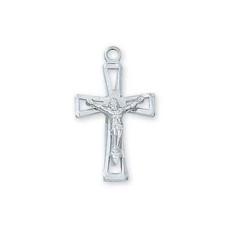 "Sterling Silver Crucifix 18"" Chain and Box (Style: LBCKOW)"