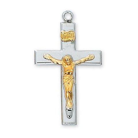 "Sterling Silver Crucifix 20"" Chain and Box (Style: L9116)"