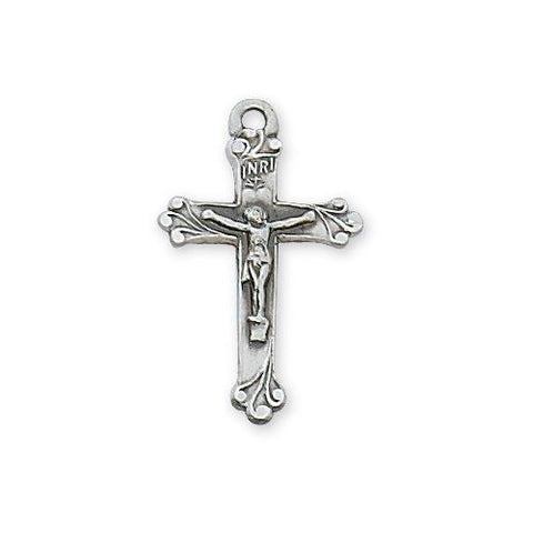 "Sterling Silver Good Shepherd Crucifix 18"" Chain and Box (Style: L9182)"