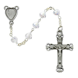Sterling Silver 6X6mm Ab Crystal Heart Rosary (Style: 921L/F)