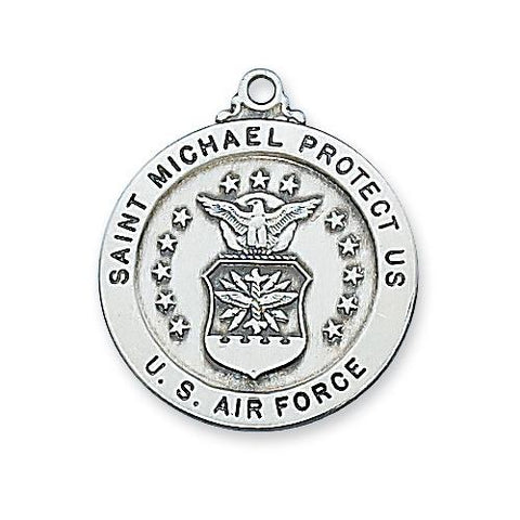 "Sterling Silver Air Force Service Medal 24"" Chain (Style: L650AF)"