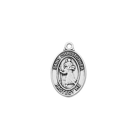 "Sterling Silver Baby St. Christopher 13"" Chain and Box (Style: L739BT)"