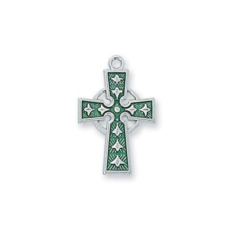 "Sterling Silver Celtic Cross 18"" With Enamel (Style: L9066)"