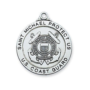 "Sterling Silver Coast Guard Medal 24"" Chain and Box (Style: L650CG)"