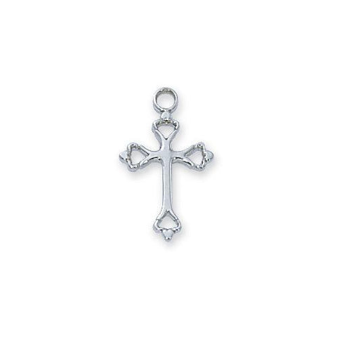 "Sterling Silver Cross 16"" Chain and Box (Style: L8003W)"