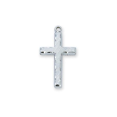 "Sterling Silver Cross 18"" Chain and Box (Style: L9001)"