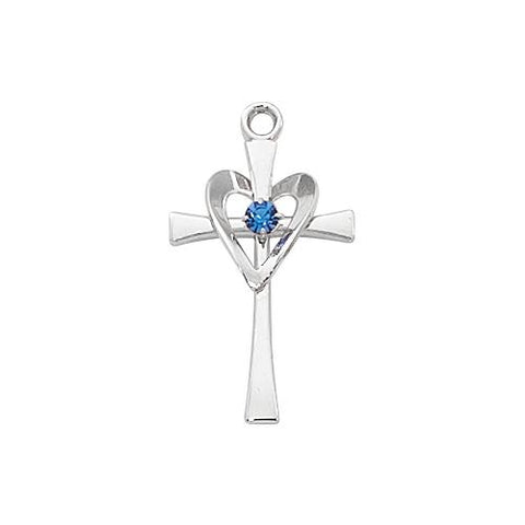 Sterling Silver Cross Silver With Blue Stone and Heart (Style: L9177)