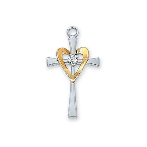 Sterling Silver Cross Silver with Gold Heart Chain and Box (Style: L9117)